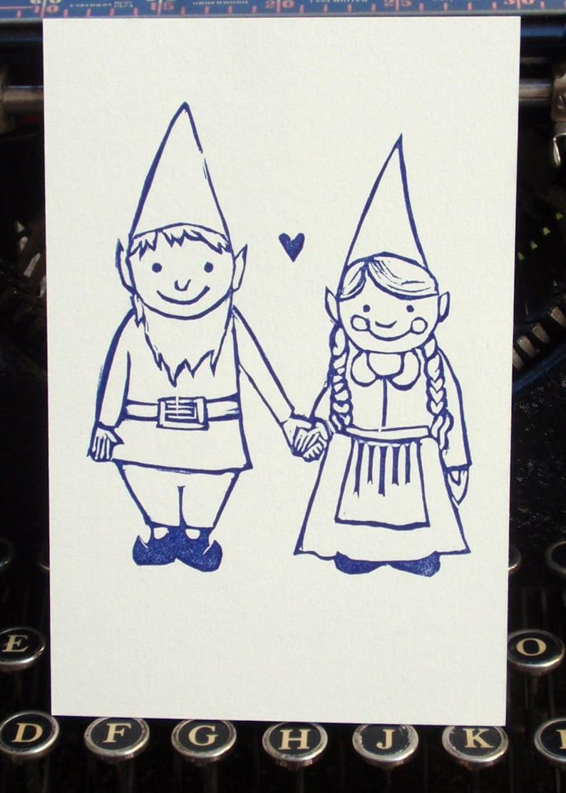 Plain Gnome Sweethearts Letterpress Postcard