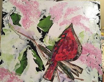 Amongst The Lilacs Mixed Media On Wood Panel 10 x 10.
