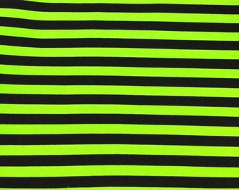 """Knit fabric monster green with black stripes 1/2"""""""