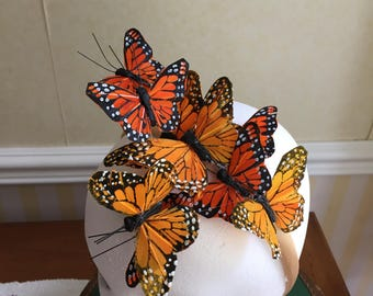 Beautiful Monarch Feather Butterfly Hair Band Fascinator