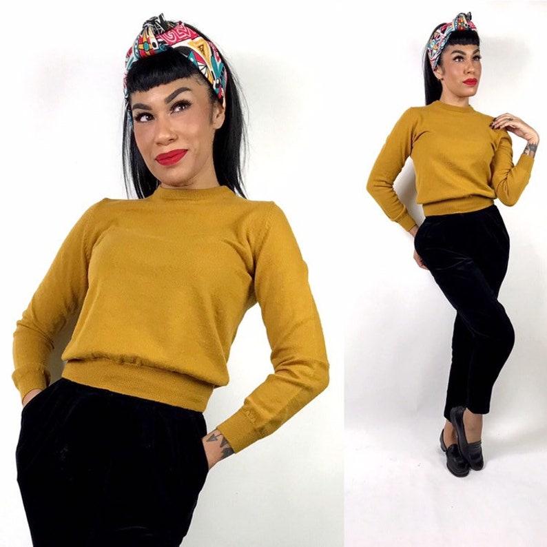 95b52d9ab4e 1950s 1960s Mustard Yellow Gold Acrylic Sweater Small Medium