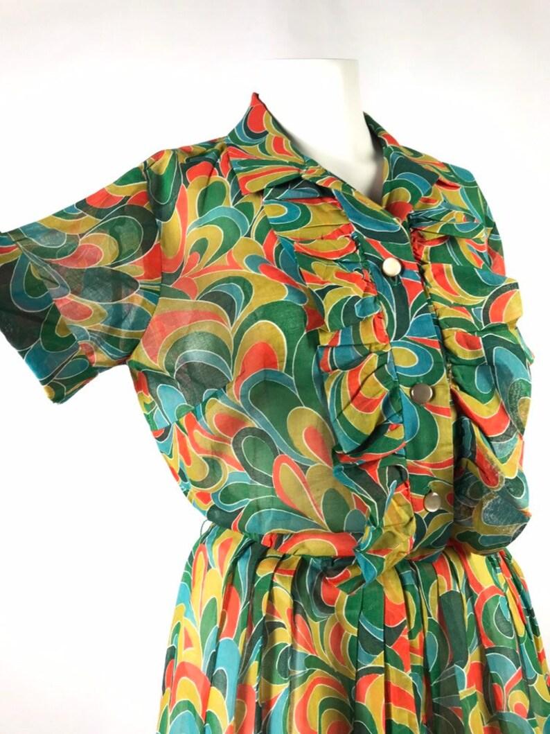 cf0a5d0e779 1960 s Trippy Psychedelic Teal Mustard Orange Swirl Print