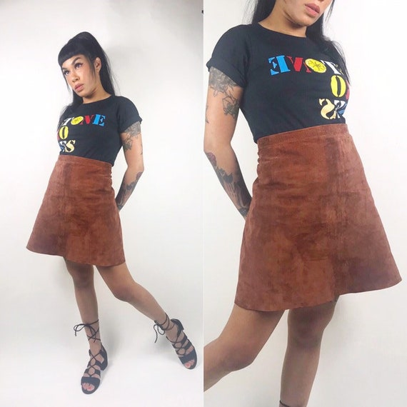 1960's 1970's Suede A Line Mini Skirt • Patchwork