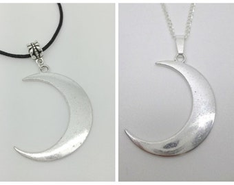 Large Tibetan Silver Crescent Moon Pendant on a Silver Necklace Chain or Black Cord vegan*lunar*witch*pagan*wicca*goth*gothic*90s*grunge new