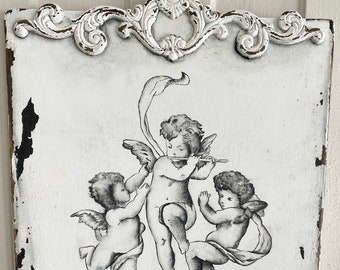 Joyeux Noel hand painted Cherubs French country Christmas sign OOAK ready to ship