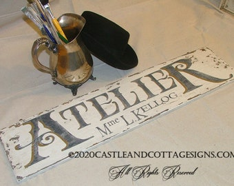 Atelier French Workshop Chippy vintage sign handpainted personalized with your name