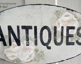Antiques Hand painted roses Vintage sign Ready to Ship