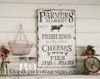Farmhouse vintage Farmers Market sign handpainted Original Design
