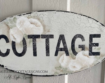 COTTAGE Hand painted roses Vintage sign Ready to Ship