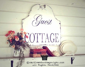 Ready to Ship! Vintage sign chippy GUEST COTTAGE as seen in Romantic Country Magazine !!