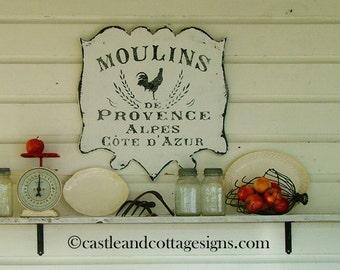 Moulins de Provence Vintage French sign handpainted Original Design Castle and Cottage Signs