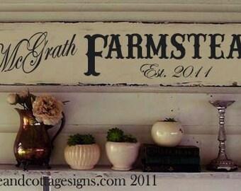 "Custom Family sign Vintage Farmstead farmhouse original design handpainted 48""x10"""