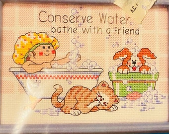 Funny Animal Bath Embroidery  #16596 New in Package Jiffy Bathe With A Friend Counted Cross Stitch Kit Finished 5 x 7