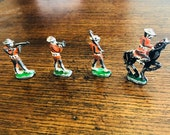 WWI WW1 Vintage Lead Soldiers, Various poses, Bugle Player, Black Horse. Maybe British, Painted with Red Jackets and White Hats.
