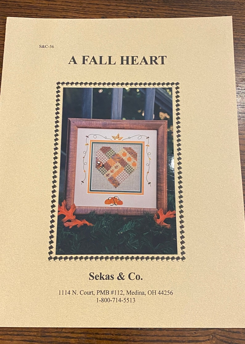 Pillow A Fall Heart More. Counted Cross Stitch Pattern Chart and Instructions by Sekas /& Co Embroidery Quilt Block for Tote Bag