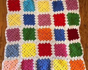 Vintage Colorful Baby Blanket Afghan. Doll or Baby Sized Throw Blanket.