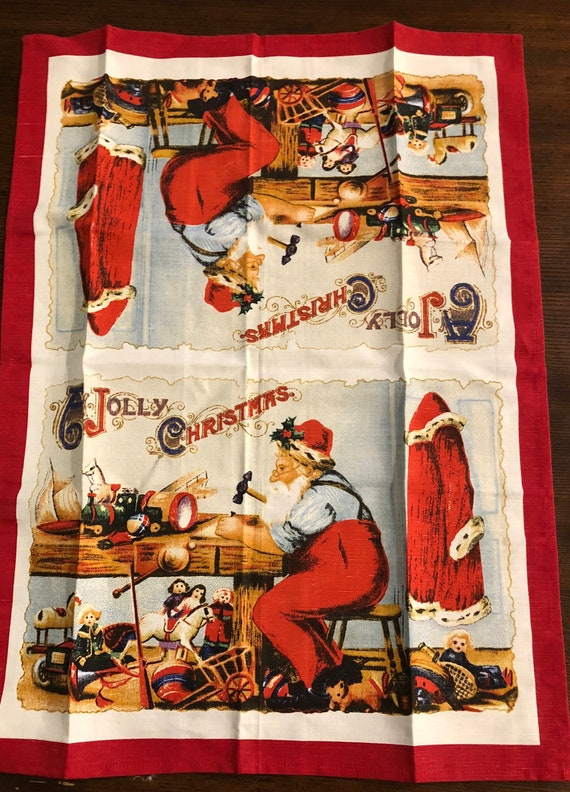 Williams Sonoma Christmas Catalog.Vintage Williams Sonoma A Jolly Christmas Tea Towel Or Table Topper Linen Santa Clause Large Kitchen Dish Towel