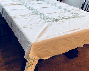 Vintage Hand Embroidered TableCloth, Large Scalloped Edge Table Cloth with Blue Embroidered Flowers. Needlework