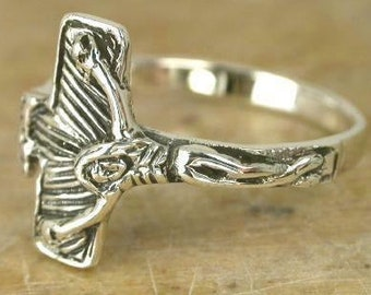 Crucifix Cross Sterling Silver Ring size 10
