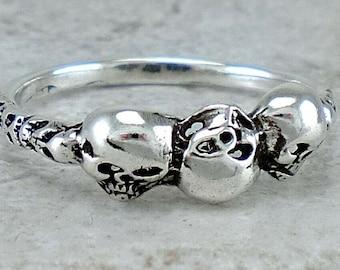 Triple Skulls Sterling Silver Ring size 8