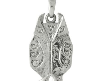 Origami Wise Owl Sterling Silver Pendant -- on Black Cord