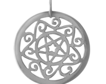 Astrological Star Pentacle Sterling Silver Pendant -- on Black Cord