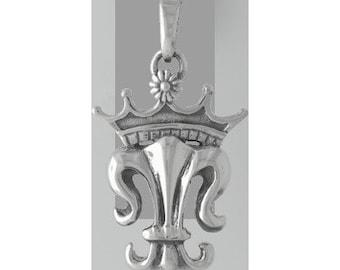 Royal Fleur de Lis Sterling Silver Charm -- Complimentary Ribbon or Cord