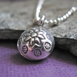 Flower Jingle Bell Karen Hill Tribe Thai Sterling Silver Charm for Bracelet or Necklace Hippie Chic Boutique