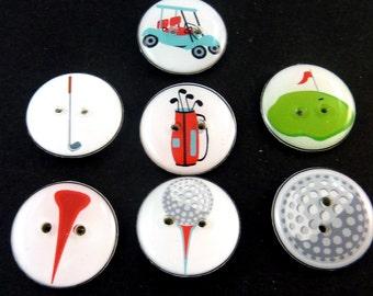 """7 Golf Themed Buttons. 3/4"""" or 20 mm.  Golf bag, golf tees, golf ball, Golf Club, Green, Golf Cart."""