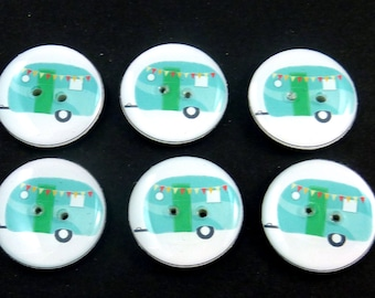 "6 RV or Camper Buttons. handmade Decorative Craft Novelty Recreational Vehicle or Camping Trailer Sewing Buttons. 3/4"" or 20 mm."
