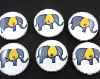 6 Elephant Buttons. Grey Elephant with Yellow Ears. Sewing Buttons.   Choose Your Size.  Handmade Novelty Buttons.  Washer and dryer Safe.