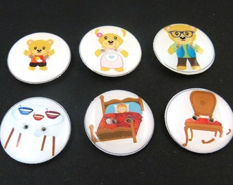 "6 Goldilocks and Three Bears Children's Story Book Sewing Buttons.  3/4"" or 20 mm Round  Handmade By Me.  Washer and Dryer Safe."