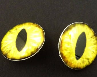 "2 Yellow Dragon Eye Sewing buttons.3/4"" or 20 mm round.  SHANK buttons.  Set of TWO."