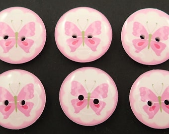 """6 Light Purple Butterfly Buttons for sewing. 3/4"""" or 20 mm."""