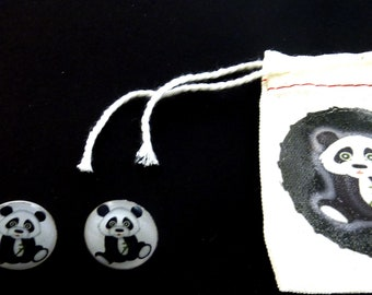 """Panda Earrings. Post or Stud Earrings.  5/8"""" or 16 mm Round.   With decorated Gift Bag."""