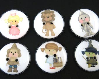 6 Wizard of Oz Buttons. Washer and Dryer Safe.   Dorothy, Tin Man, Cowardly Lion, Scarecrow, Wicked Witch, Good Witch Choose Your Size.