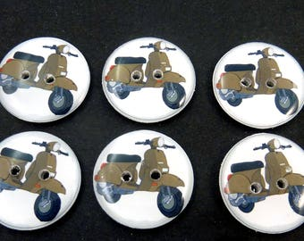"""6 Retro Brown Scooter Buttons.  Sewing Buttons.  Washer and dryer Safe.  3/4"""" or 20 mm."""