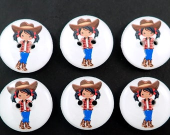 6 Cowgirl Buttons.  Handmade Sewing Buttons. Washable, Dryer Safe.