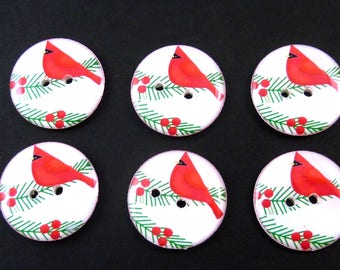 6 Bright Red  Cardinal Christmas  Buttons. Sew on Embellishment.  Choose Your Size.  Washer and Dryer Safe.