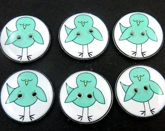 6 Handmade Turquoise Blue Bird Buttons.  Sewing Buttons, Knitting Buttons, Scrapbook Embellishment Buttons.