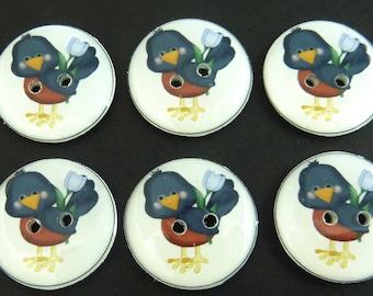"""6 Bird Buttons.  Handmade by Me.  Robin Buttons. Washer and Dryer Safe. Archival Safe.  3/4"""" = 20 mm."""