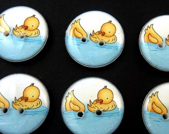 6  Duck buttons.  Lightweight Machine Washable Buttons for Knitting, Crochet, Sewing and Scrapbooking. Choose Your Size.