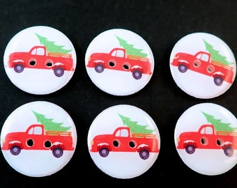 6 Red Truck and Christmas Tree Christmas Buttons for Sewing, Knitting or Crochet. Choose Your Size.