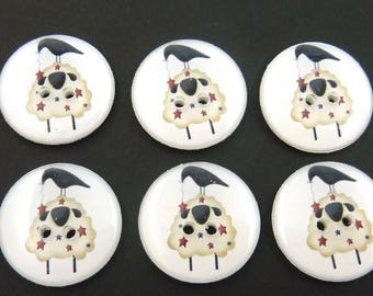 """6 Handmade Americana Primitive Sheep and Crow  buttons.  Red and Blue Star Primitive Sheep.  3/4"""" = 20 mm"""