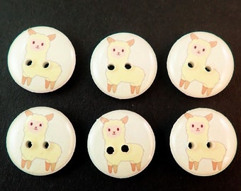 6 Light Yellow Llama Sewing Buttons.  Assorted Sizes Available.