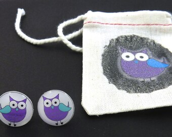 """Purple and Blue Owl Earrings. Post or Stud Earrings.  5/8"""" or 16 mm Round.   With decorated Gift Bag."""