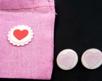 "Pink Heart Earrings. Post or Stud Earrings.  5/8"" or 16 mm Round.  In Hand Dyed Pink Fabric Decorated Bag."