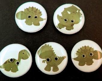 "Dinosaur Buttons.  Set of 5 different Sage or Moss Green  Dinosaur decorative novelty craft dinosaur buttons. 3/4"" or 20 mm"