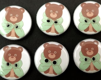 """6 Teddy Bear Buttons. Bear in Green Blanket Sewing buttons. 3/4"""" or 20 mm.  Washer and Dryer Safe."""