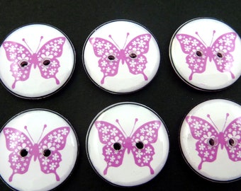 "6 Purple Butterfly Buttons for sewing. 3/4"" or 20 mm.  PURPLE on Back."